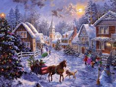 Winter christmas scenes | ... holidays lovely xmas scene merry christmas sleigh ride town winter x