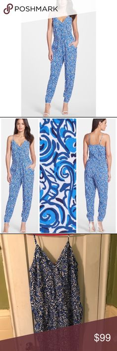 """NWT Lilly Pulitzer Melba Jumpsuit In Blue/White Lilly Pulitzer Melba jumpsuit in blue and white. Sleeveless with pleated detail. Faux V-wrap front with hidden snap closure so your boobies don't fall out. Elastic waistband and at the ankle hem. Two front pockets. Bust 38"""", waist stretchy 32"""", inseam 28"""", rise 11"""". New with tags still attached. Please let me know if you need more pix or have any questions. All of my items come from a smoke/pet free home. I'm ready to get rid of everything so…"""