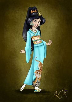 """Kimono Disney Princesse : Jasmine by Atomicfrog83.deviantart.com on @deviantART - Fourth in a series showing Disney girls in kimono: Jasmine from """"Aladdin"""". From the artist's comments: """"she is wearing a iro tomesode which is a very formal kimono, wearing for special occasion."""""""