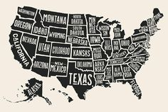 Poster map of United States of America with state names. Black and white print m… Poster map of United States of America with state names. Black and white print map of USA for t-shirt, poster or geographic themes. United States Map, U.s. States, Nebraska, Idaho, Nevada, Montana, Virginia Occidental, Oregon, Usa Travel Map