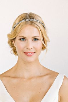 AMELIA Headband -  bridal, rhinestone, crystal, veil, wedding, tiara, headpiece via Etsy