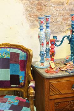 hand made patch work chair and hand painted candleholder from India
