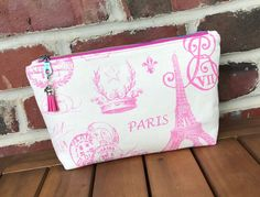Zippered makeup bag, cosmetic bag, premier prints fabric, Paris fabric, pink print, sotak essentials pouch, canvas zipper pouch Handmade Clutch, Handmade Bags, Pink Paris, Premier Prints, Cute Bags, Gifts For Coworkers, Fabric Decor, Cosmetic Bag, Hot Pink