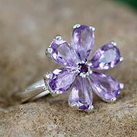 Amethyst floral ring, 'Perfect Petals' from @NOVICA, They help #artisans succeed worldwide.