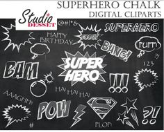 Superhero Chalk Clipart, Super Hero Chalkboard Clip Art, Speech Bubble, Superman, Birthday Hero, C284 by StudioDesset on Etsy