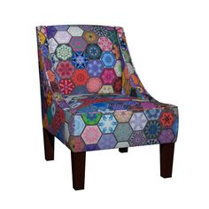Venda Sloped Arm Chair featuring Snowcatcher Hexie Patchwork by snowcatcher | Roostery Home Decor
