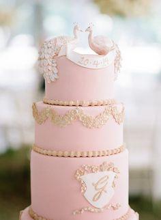 tasteful wedding cake; photo: Ashley Upchurch