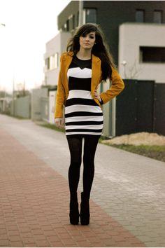mustard yellow Cozbest blazer - black strips motelrocks dress