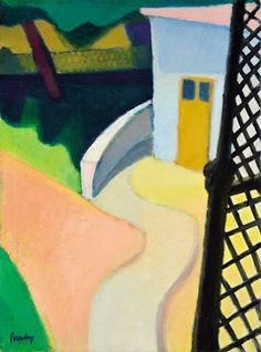 Berény Róbert (1887-1953)  Napsütéses villakert, 1928-1930 körül  Olaj, vászon, 88,5x66 cm