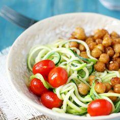 Garlic Zoodles with Fried Chickpeas. Recipe with chickpeas, olive oil, onion powder, garlic powder, cumin, paprika, sea salt, medium zucchini, olive oil, garlic, grape tomatoes, salt, pepper