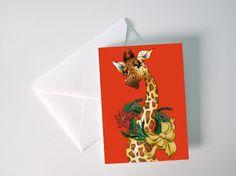 Holiday Giraffe Card by sbock11 on Etsy, $3.00