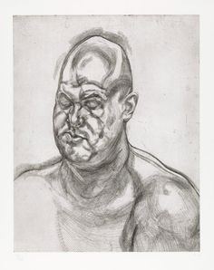 Lucian Freud, (British [born Germany], 1922–2011). Large Head, 1993. Etching; plate: 27 5/16 x 21 5/16 in. (69.4 x 54.1 cm), Sheet: 32 ½ x 26 1/8 in. (82.6 x 66.4 cm. The Metropolitan Museum of Art, New York, Bequest of William S. Lieberman (2005, 2007.49.588)