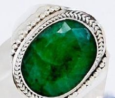 $34.99 New INDIAN EMERALD 925 STERLING SILVER RING(size 7)