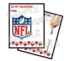 NFL FOOTBALL personalized Valentine Cards holds by myhtmdesigns, $8.99