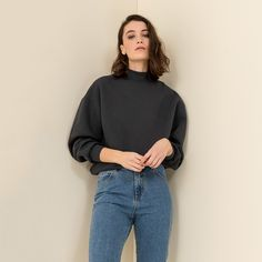 SWEATSHIRT WITH RIBBED HIGH NECK #mys19