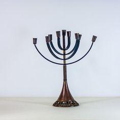 Hanukkah Menorah Jewish Holidays Vintage Modernist Candelabra MidCentury by CozyTraditions