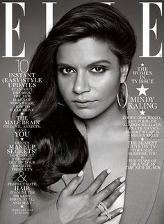 Mindy Kaling graces the cover of the February 2014 Women in TV issue of Elle Magazine.