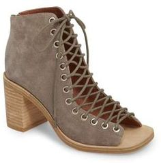 This is the the latest version of the classic Cors with a wider toe bed. Crisscrossed laces span the open top of a squared-toe bootie lifted by a stacked block heel. lace-up style. Bootie Sandals, Bootie Boots, Heeled Loafers, Heels, Shoe Deals, Designer Boots, Waterproof Boots, Jeffrey Campbell, Leather Flats