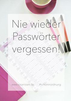 Printable-Friday: Nie wieder Passwörter vergessen! | Rosanisiert