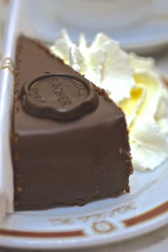 The classic Sacher Torte, from where else but Cafe Sacher in Vienna, Austria.