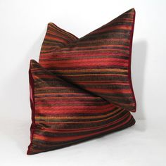 Ruby Red Pillow Cover - Decorative Cushion - Wine Silk Velvet - Burgundy Gold Metallic Stripe 12X18 inch ♥