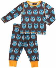 Maxomorra Blue Owls PJ set - Long Sleeve