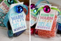 "'Wishing You Warm & Cozy Toes All Winter' Socks & Nail Polish Gift: The cold winter air brings shivers all about, especially for your feet. Package holiday-themed socks with a bottle of coordinating nail polish and  include a tag that reads ""Wishing you warm and cozy toes all winter."" for a small little gift or adorable stocking stuffer."