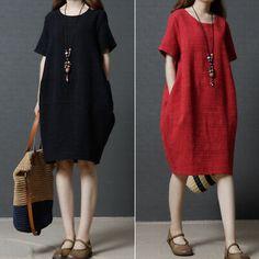 Plus Size Women Cotton Linen Ladies T-Shirt Dress Summer Plain Baggy Tops Blouse Virgos Lounge, Baggy Dresses, Short Sleeve Dresses, Short Sleeves, Shenzhen, Beach Dresses, Summer Dresses, Baggy Tops, Maxi Robes