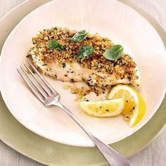 Chopped walnuts, herbs, and panko become a crisp, flavorful coating for the halibut fillets.