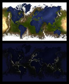 Inverted Earth: geographical map and nighttime image. By MyGrapefruit on Deviantart.