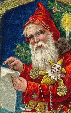 Magical Red Santa Checking His List Gorgeous German Printed Embossed Card Christmas Santa Vintage Antique Postcard Unsent1 by UpNorth Memories - Donald (Don) Harrison, via Flickr