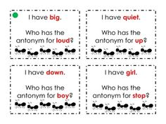 """I Have, Who Has?"" Antonyms- great game for teaching antonyms or any other literacy definitions"
