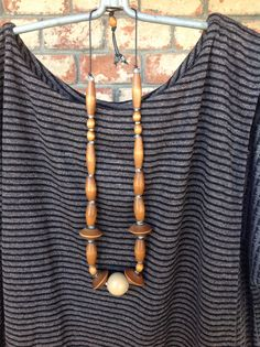 Vintage wood beads and hardware necklace.