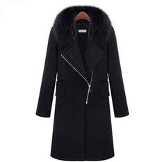 2014 women's autumn / winter new / Europe / long sections / Slim / Large / thick / Fashion / fur collar / woolen coat