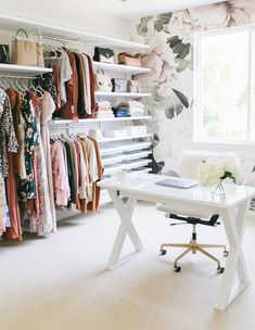 Closet & wallpaper – Home office wallpaper Bedroom Turned Closet, Closet Turned Office, Home Office Closet, Dressing Room Closet, Home Office Space, Home Office Decor, Walk In Closet, Home Decor, Office Ideas