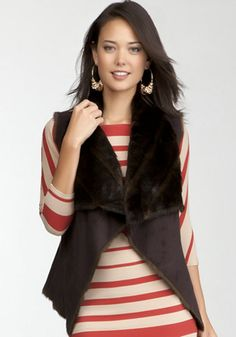 bebe | Reversible Drape Faux Fur Vest - I had to have this...