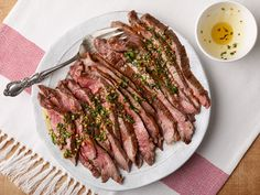 Simple Broiled Flank Steak with Herb Oil