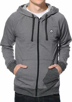 Volcom Stone Grey & Black Zip Up Hoodie at Zumiez : PDP