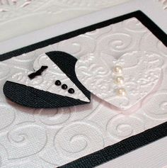 Wedding Shower Anniversary Card  - Embossed Bride and Groom Hearts. $4.25, via Etsy.