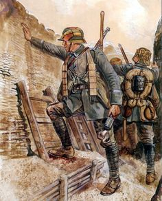 Late war German trench raiders getting ready to go over the top. Wilhelm Ii, Kaiser Wilhelm, German Soldiers Ww2, German Army, Military Art, Military History, Osprey Military, Military Uniforms, Ww1 History