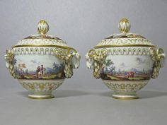 A Pair of Covered Vases, Meissen 19th century