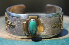Vintage Signed Navajo Style Sterling Silver, Gold Filled and Turquoise Bracelet