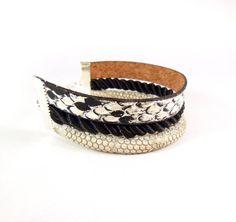 white black bracelet snake leather bracelet gray leather by dunord