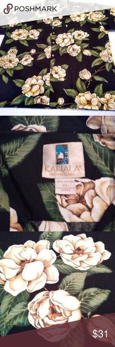 """Hawaiian Kahala Men's Cotton Shirt Size XL Hawaiian Kahala Men's Shirt Cotton Handcrafted in Hawaii USA Size XL Magnolia   Kahala Hawaiian Islands Men's Shirt  Made in Hawaii USA of imported fabric  Pre-owned, good condition, with no known flaws.   100% Cotton Size: XL   Measurements (when laid flat) : Chest: 26"""" Top to bottom : 31"""" Kahala Shirts Casual Button Down Shirts"""