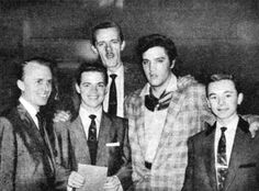 One of, if not THE earliest photo of Elvis with J.D. Sumner who sang bass with Elvis in Las Vegas & on tour - (L-R) James Blackwood, Jackie Marshall, J.D. Sumner, Elvis, Mark Blackwood (not a group member, son of Cecil) circa 1957; Elvis was familiar with JD in 1953-54 when JD sang with the Sunshine Boys.