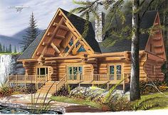 <ul><li>On a mountain or by a lake, this log home plan looks great. </li><li>With up-to-the-minute styling--kitchen with lunch counter, elegant dining room, living room with fireplace, and main-floor master bedroom suite with private bathroom--it certainly lives up to today's standards. </li><li>Plus upstairs, there are three secondary bedrooms, a large bathroom, family room, and well-lit mezzanine. </li></ul>