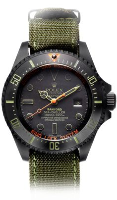 Bespoke watches from Bamford.  Here, a Rolex - Deepsea (Bamford 'Truehunter NATO')