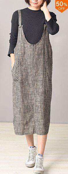 2018 ZANZEA Women's Strappy Stripe Sleeveless Pockets Suspender Dress Baggy Loose Casual Backless Jumpsuits Vestido Plus Size - Women's Fashion