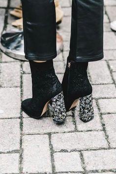 glitzy block heels