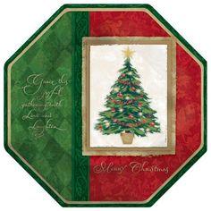 Glædelig Jule Tema Ottekantet Pap Tallerken - Single